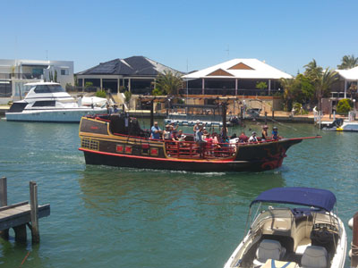 Ahoy there me hearties! The Mandurah Pirate Ship parades past our mandurah Holiday Rental